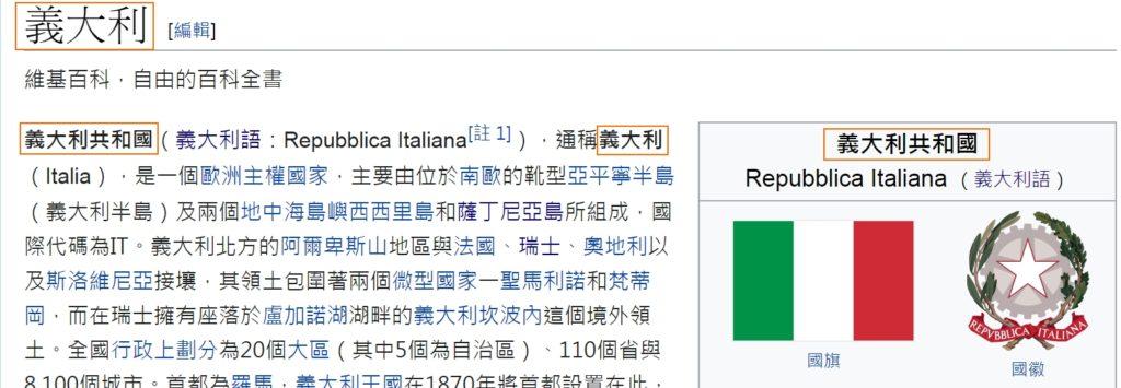 Pagina dell'Italia (意大利) - Taiwan