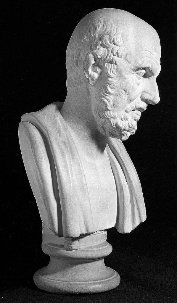 Medicina Greca ed Ellenistica: busto di Ippocrate di Coo.