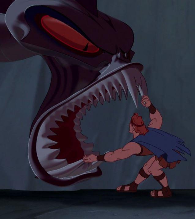 Hidra e Hercules nel lungometraggio Disney.