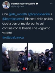 Migranti Bosnia tweet Majorino