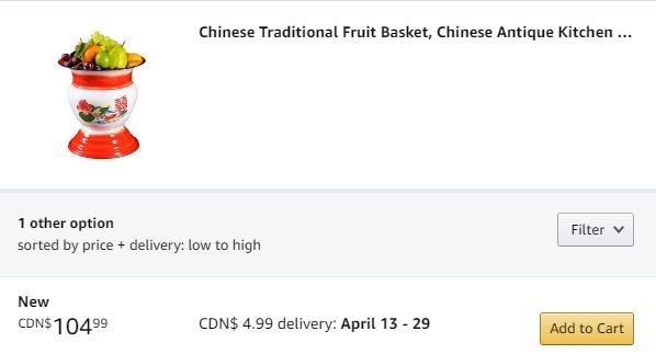 """Prezzo Amazon del """"centrotavola"""" cinese"""