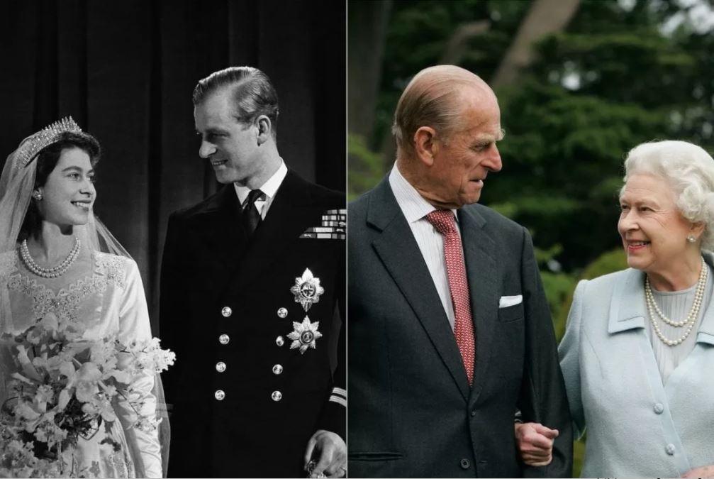 Amore entra a corte - Confronto foto di Elisabetta e Filippo nel giorno delle nozze e una foto recente