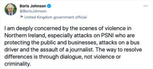Proteste Irlanda del Nord -Johnson tweet