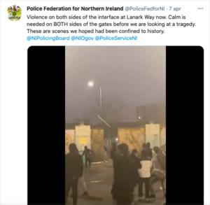 Proteste Irlanda del Nord - polizia tweet