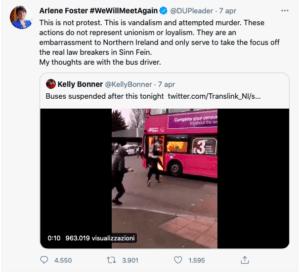 Proteste in Irlanda del Nord - Foster tweet