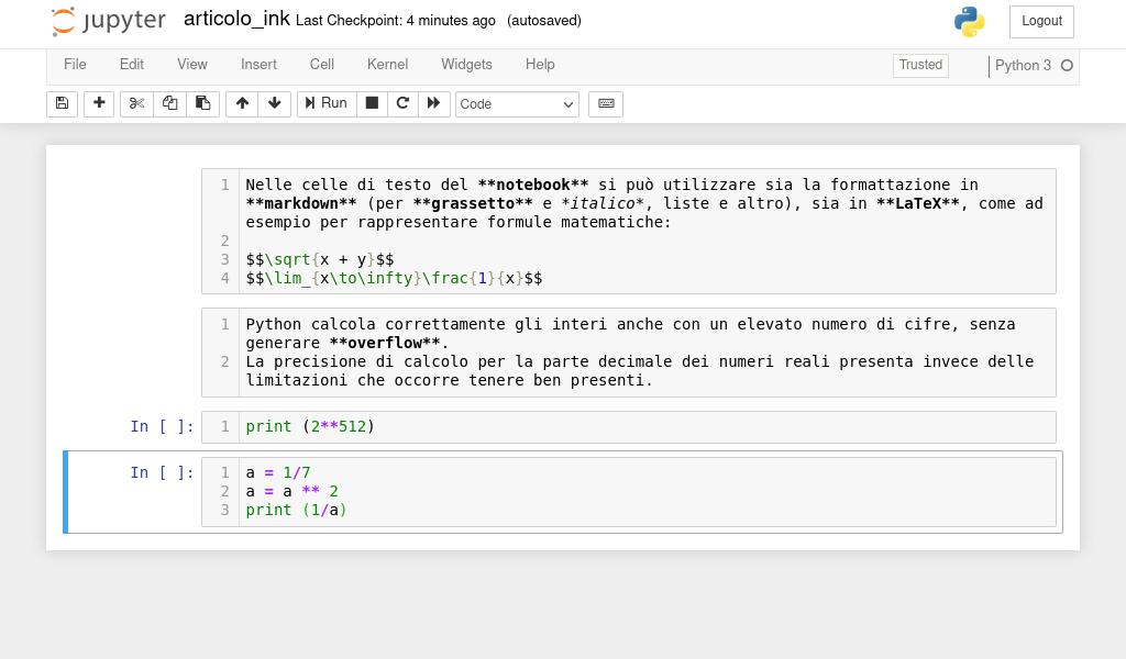 Manjaro: prima schermata del Notebook Python